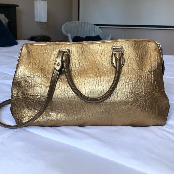 ROCHAS - Gold metallic double satchel leather bag
